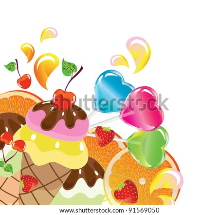 Background with sweets, fruit, berries and ice cream over white, vector, EPS10