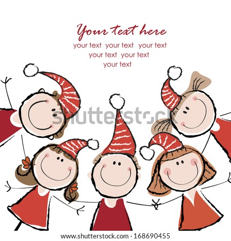background with the image of children in Christmas hats - stock vector