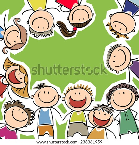 background with the image of laughing children - stock vector