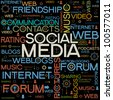 background with the words on the topic of social networking - stock photo