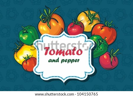 background with tomatoes and peppers. space for text - stock vector