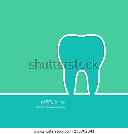 Background with tooth outline. Symbol for dental clinic. blue, green. Logo, emblem dentist - stock vector