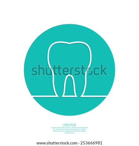Background with tooth outline. Symbol for dental clinic. green. Logo, emblem dentist. icon, circle - stock vector