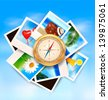 Background with travel photos and compass on blue sky background. Vector illustration. - stock photo
