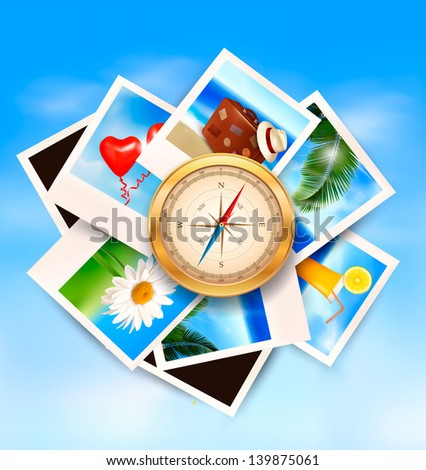 Background with travel photos and compass on blue sky background. Vector illustration. - stock vector