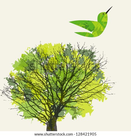 Background with tree, leaf and hummingbird. - stock vector