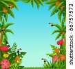 Background with tropical plants and parrots. - stock vector