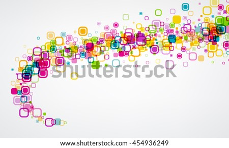 Background with twirl of colour geometric pattern. Vector paper illustration.