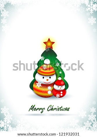 Background with two snowmen and Christmas tree, Christmas greetings - stock vector