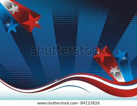 Background with USA flag theme. Vector available