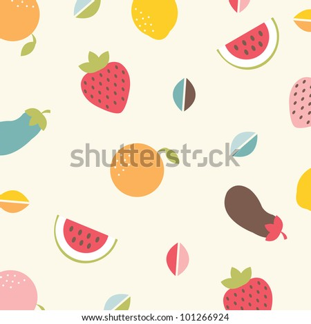 Background With Vegetables And Fruit, Vector Illustration