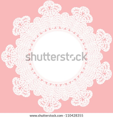 Background with vintage lace frame. Crocheted napkin - stock vector