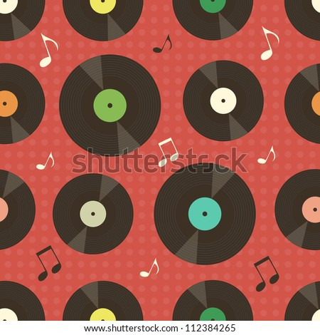background with vinyl records and music notes - stock vector