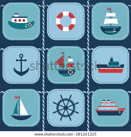 background with water transport - stock vector