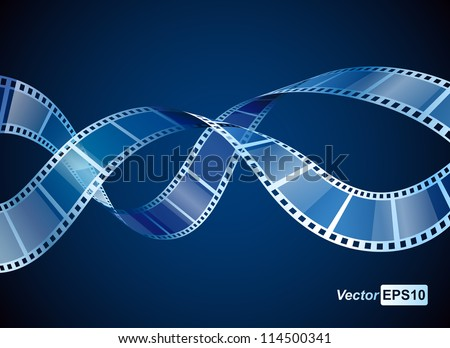 background with waving film strip - stock vector