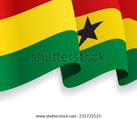 Background with waving Ghana Flag. Vector illustration