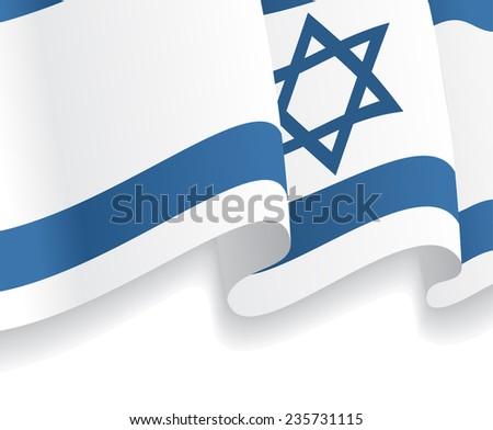 Background with waving Israeli Flag. Vector illustration - stock vector