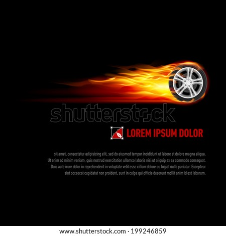 Background with wheel in orange flame for your design - stock vector