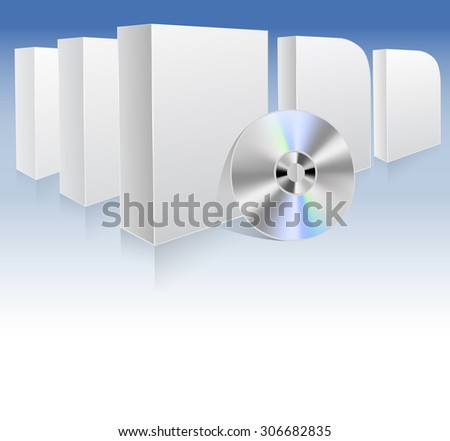 background with white boxes and dvd. vector illustration - stock vector