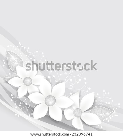Background with white flowers and silver leaves