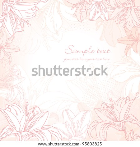 background with white lily - stock vector