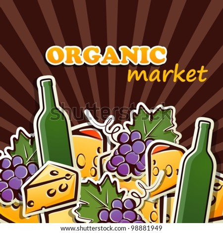 background with wine, grapes and cheese - stock vector