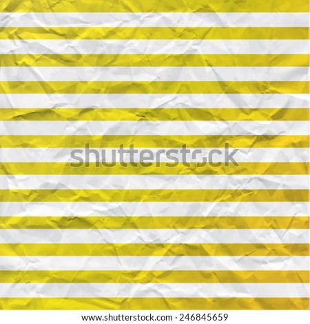 Background with yellow stripes of crumpled paper. Universal vector texture. Use for card, banner, letters, label etc.  Eps 10. - stock vector