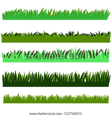 Backgrounds Of Green Grass, Isolated On White Background vector set