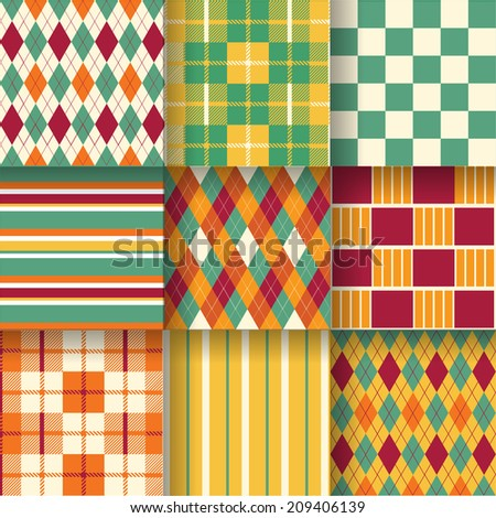 Backgrounds. Seamless pattern background with green, red and yellow color. Vector illustration. Pattern Swatches made with Global Colors - quick, simple editing of color.  - stock vector