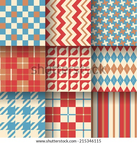 Backgrounds. Seamless pattern background with terracotta, beige & blue colors. Vector illustration. Pattern Swatches made with Global Colors - quick, simple editing of color  - stock vector