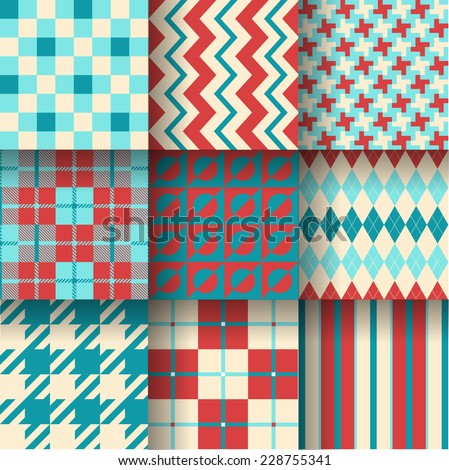 Backgrounds. Seamless pattern background with terracotta & blue colors. Vector illustration. Pattern Swatches made with Global Colors - quick, simple editing of color - stock vector