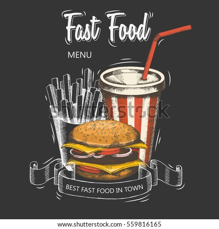 Backgrounds with a hamburger, french fries, and soda hand-drawn. Sketch. Menu for the restaurant or advertising. Vector elements of fast food