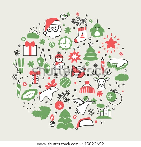 Backgrounds with icons - New Year, Christmas, winter. A vector.