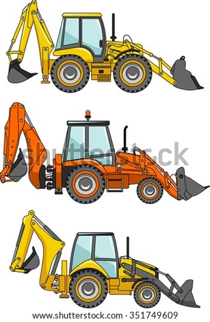 Backhoe loaders. Heavy construction machines. Detailed illustration of backhoe loaders, heavy equipment and machinery. Vector illustration.