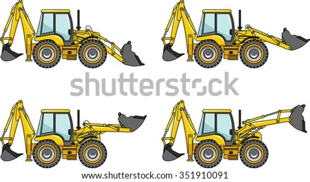 Backhoe loaders. Heavy construction machines. Detailed illustration of backhoe loaders, heavy equipment and machinery. - stock vector