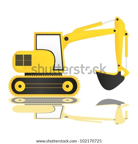 backhoe on white background with reflection, vector illustration