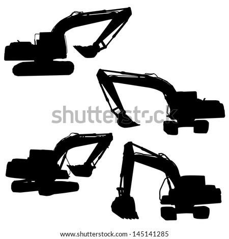 backhoe silhouette vector  - stock vector