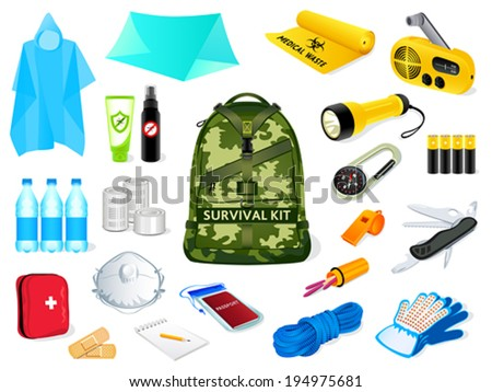 Backpack and survival kit in case of the nature disasters - stock vector