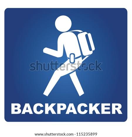 backpacker - stock vector