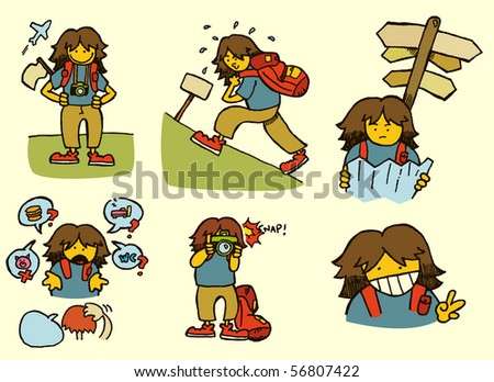 Backpacker adventures. Set of 6. - stock vector