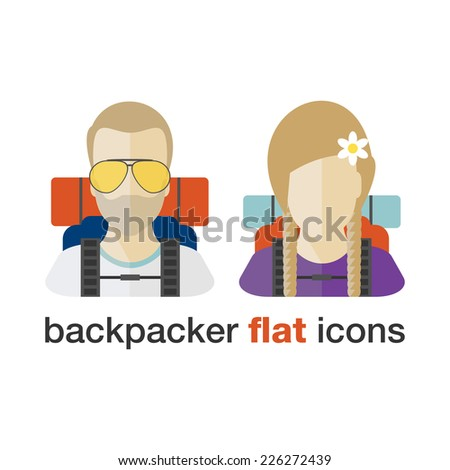 Backpacker flat icons. Young boy and girl with backpacks. - stock vector