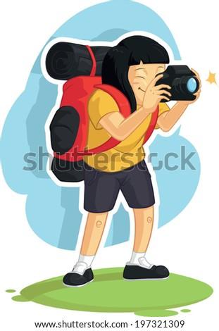 Backpacker Girl Taking Photo - stock vector