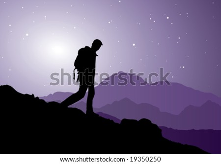 backpacker going down the mountain, vector illustration - stock vector