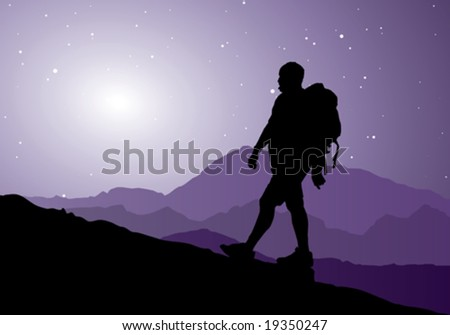 backpacker going up the mountain, vector illustration - stock vector