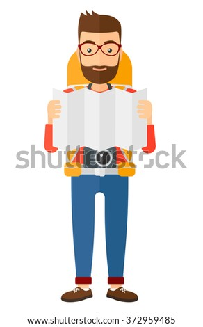 Backpacker looking at map. - stock vector
