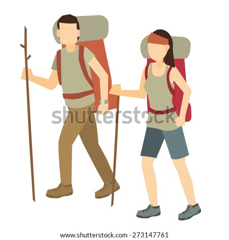 backpacker man and woman vector illustration isolate on white background. - stock vector