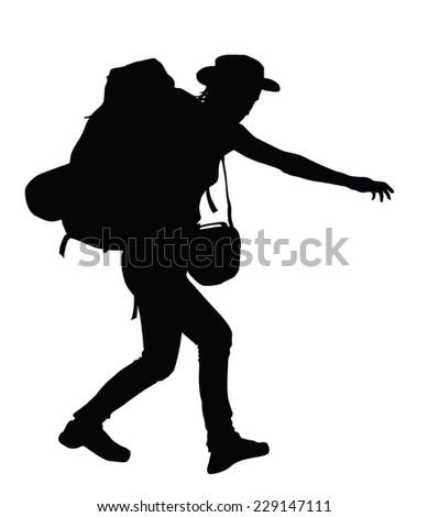 Backpacker vector silhouette. EPS 8 - stock vector