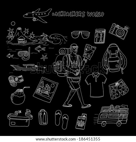 Backpackers world. Travel. Doodle set in vector isolated on a black background. - stock vector