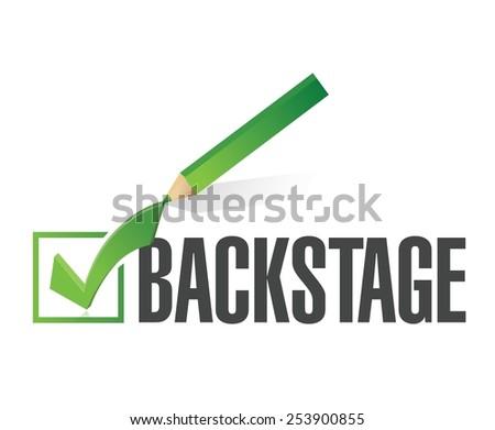 backstage check mark illustration design over a white background - stock vector