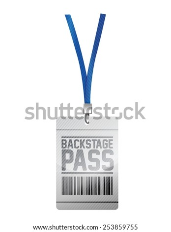 backstage pass tag illustration design over a white background